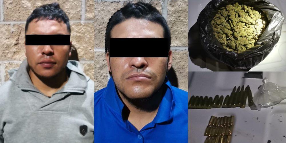 Detienen a par de sujetos con marihuana, crystal y cartuchos en Tepezalá