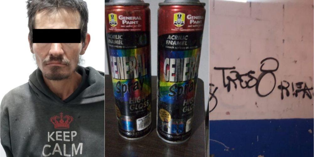 """""""La Roda"""" fue detenido por realizar pintas en las bardas del panteón"""
