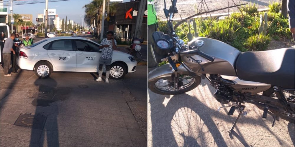 Se registra desigual choque entre moto y taxi en Colosio