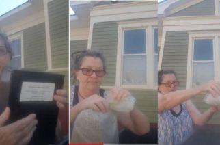 (Video)Mujer tira cenizas de su esposo a la basura como venganza