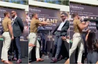 (Video)Canelo y Caleb Plant llegan a los golpes en presentación de su pelea