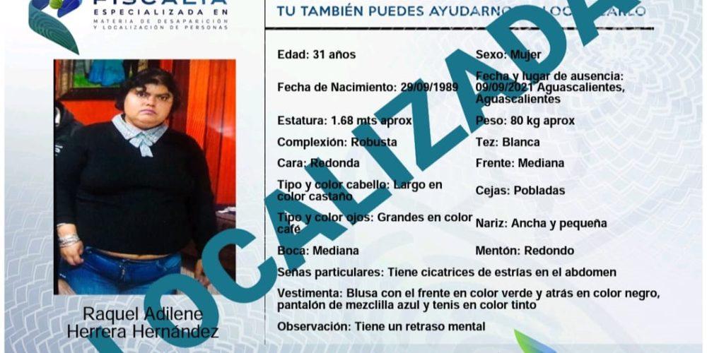 Localizan a mujer reportada como desaparecida en Aguascalientes