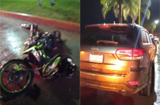 Se registra  accidente entre vehículo y motocicleta en Bulevar San Marcos